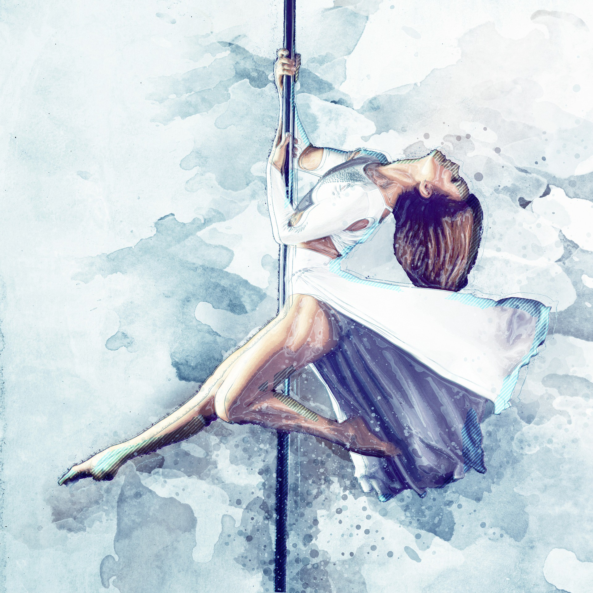 watercolor painting of pole dancer in an elegant outfit striking a pose on a pole