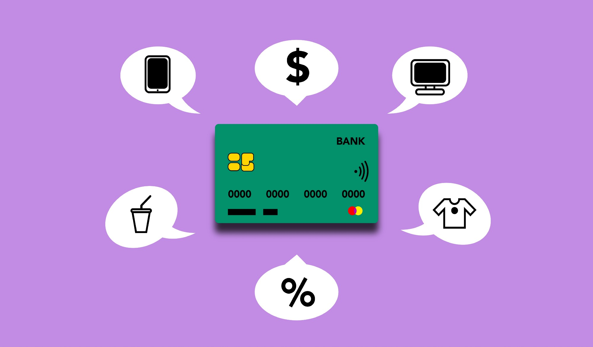 Artwork showing a credit card and call-outs to various budget items.