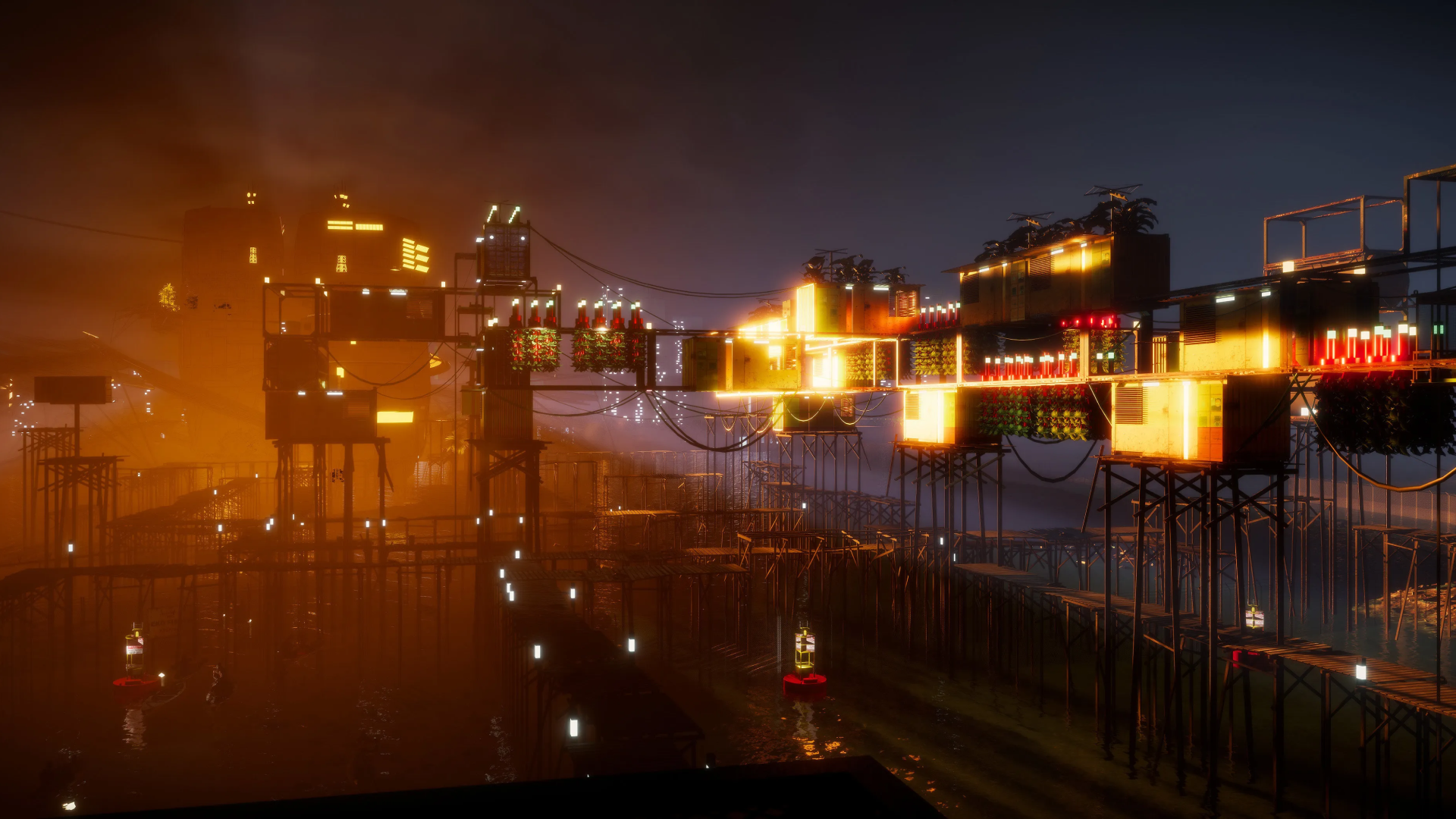 A 3D Virtual Reality rendering of a futuristic setting. Brightly lit buildings are supported by stilts over an ocean.