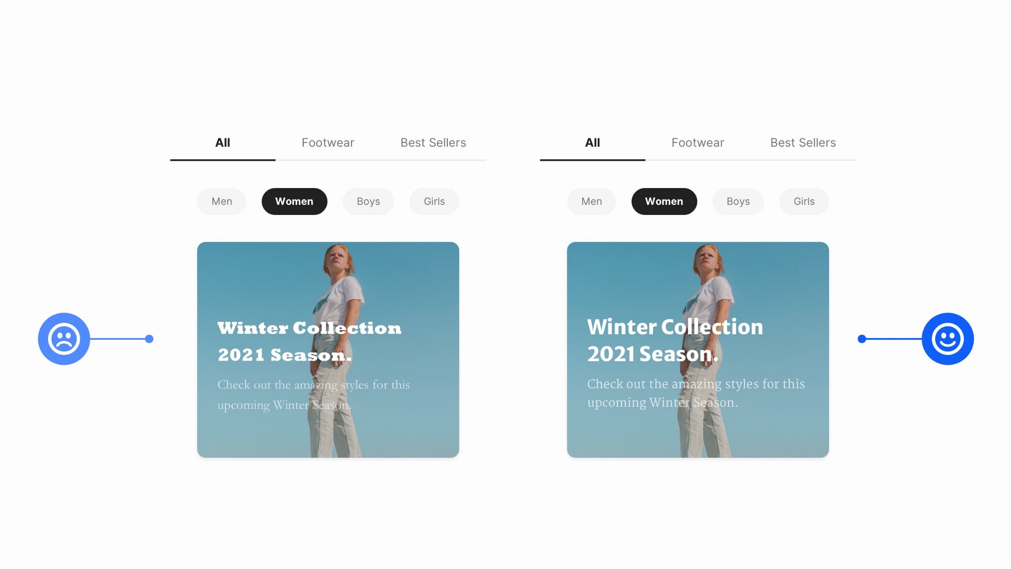 Two mobile design examples side by side with different font styles