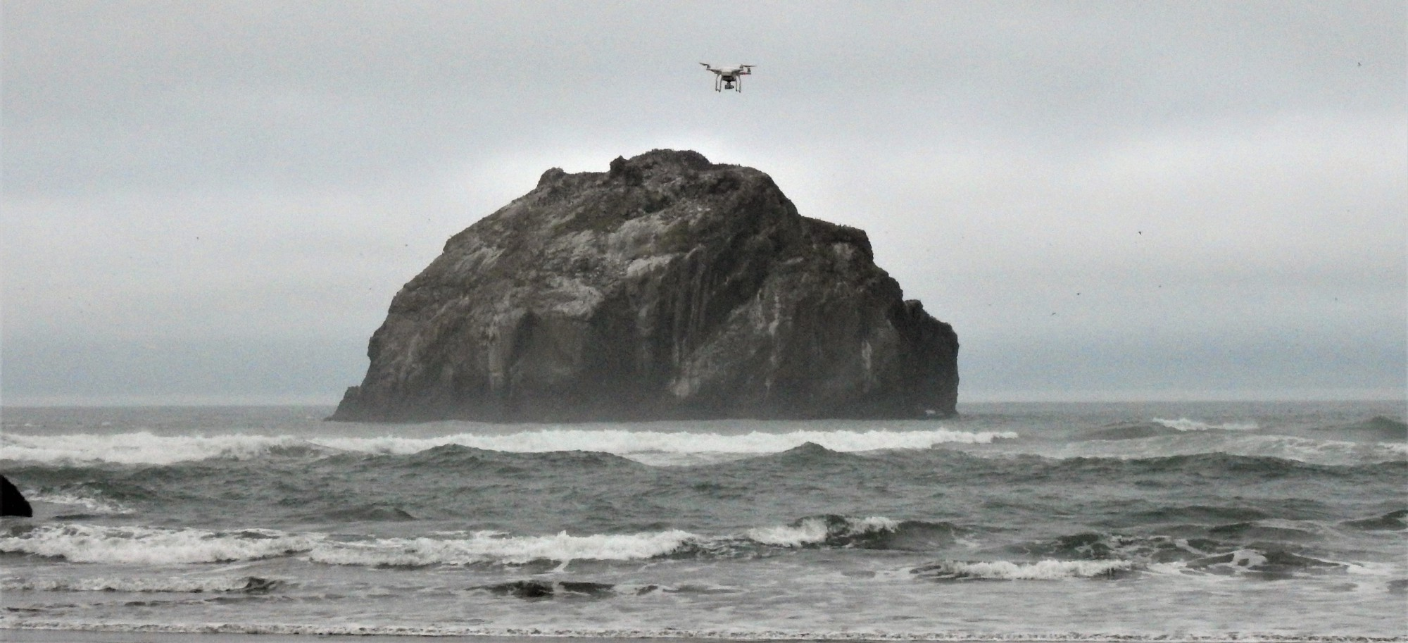 An unmanned aircraft system (aka drone) explores the beach on the Oregon Coast. Photo by Diane Bilderback