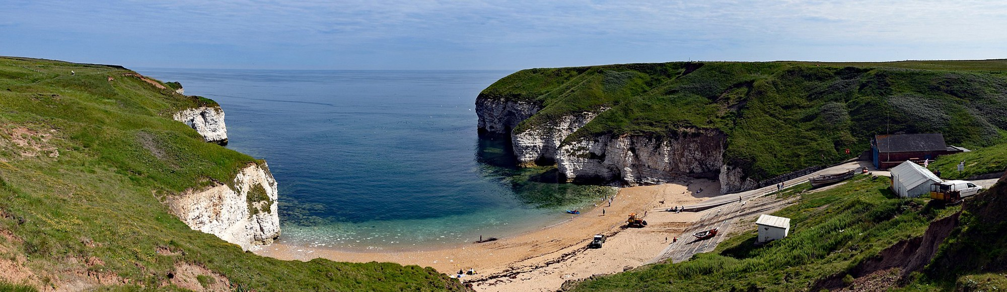 Sunny day looking down at the North Sea from North Landing, Flamborough, UK