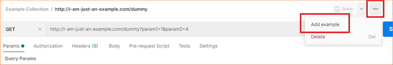 How to add a request-response example from the request UI in Postman