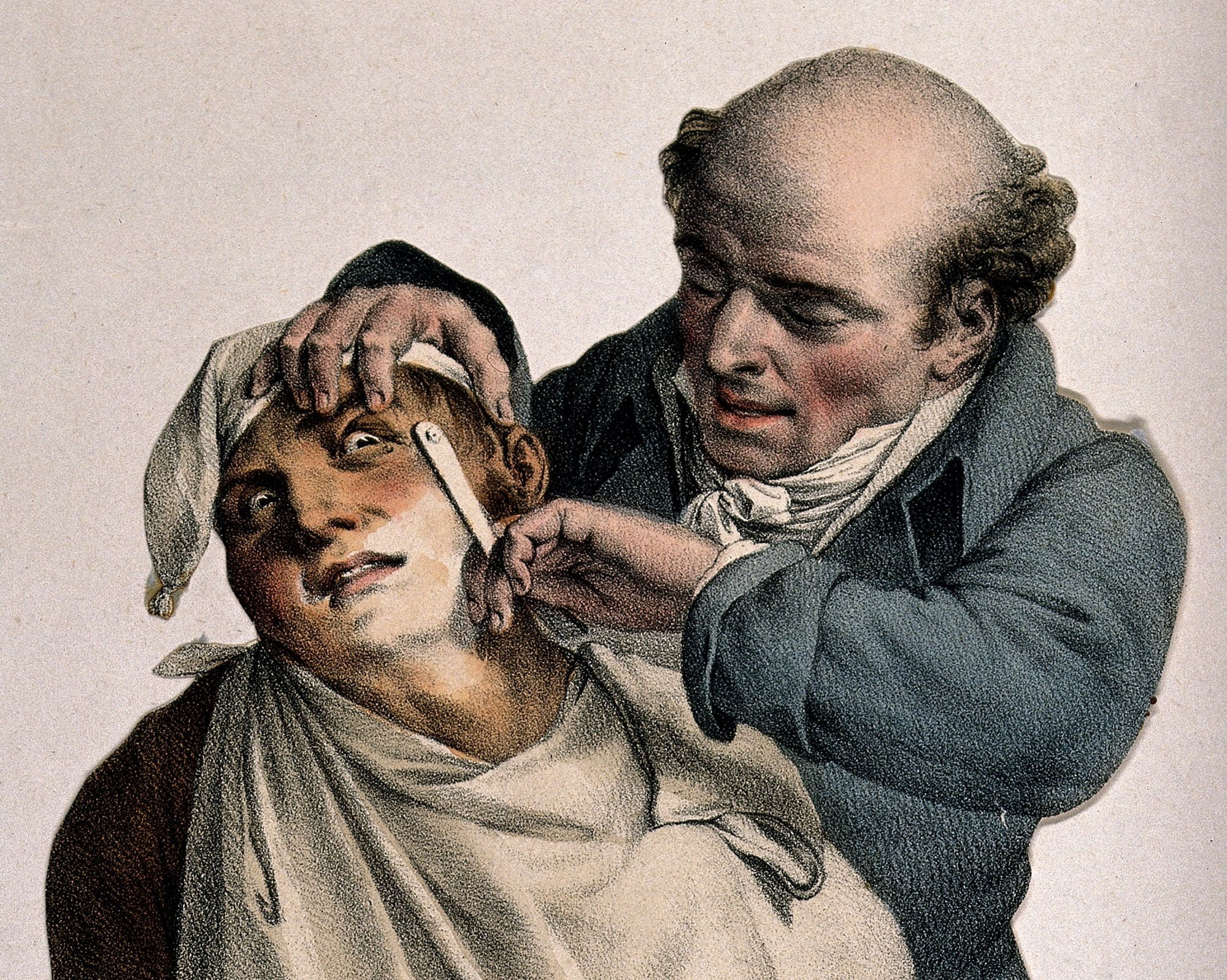 A barber shaving a man who looks extremely fearful.