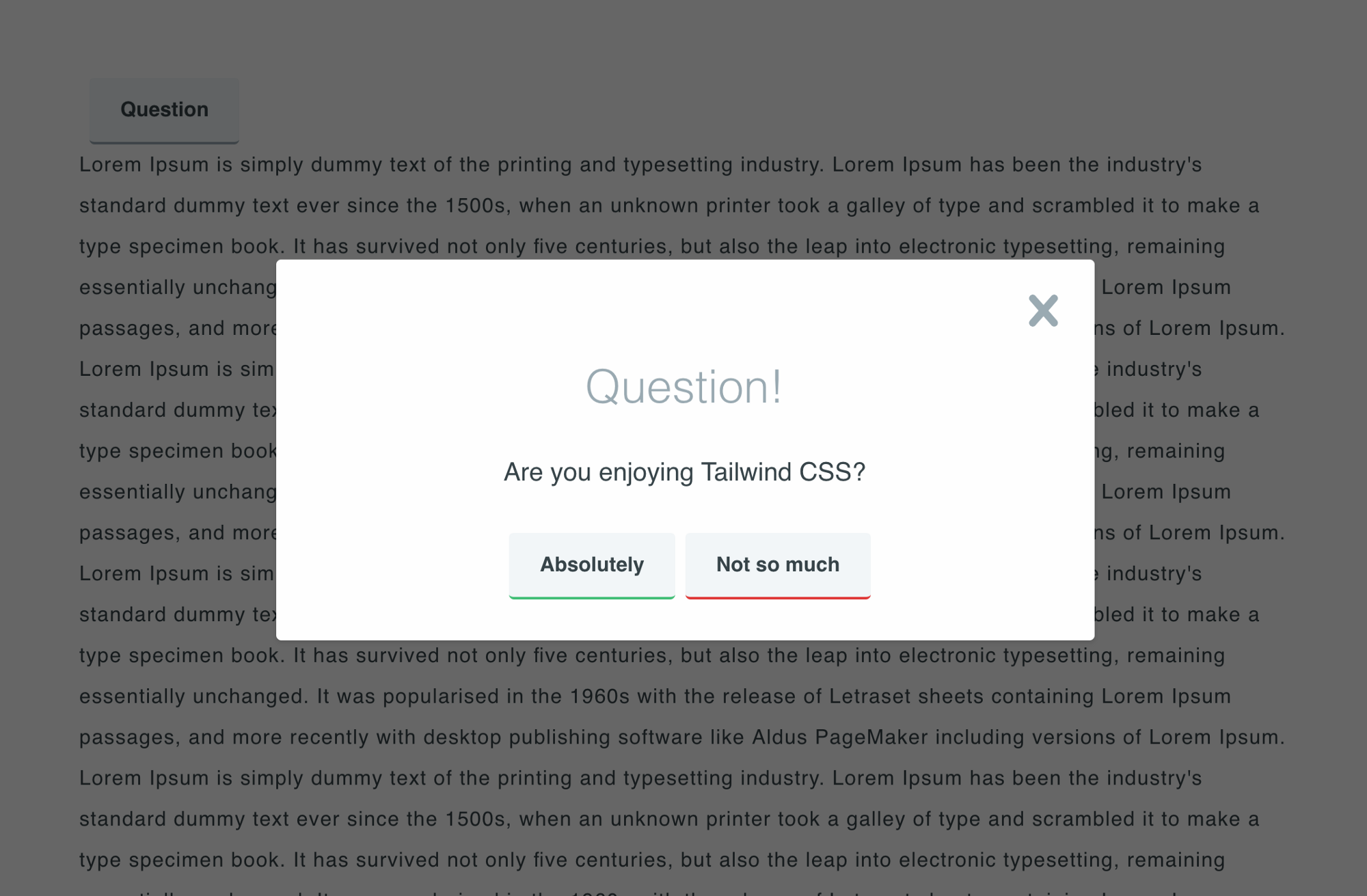 Creating a modal dialog with Tailwind CSS   by m20de   codeburst