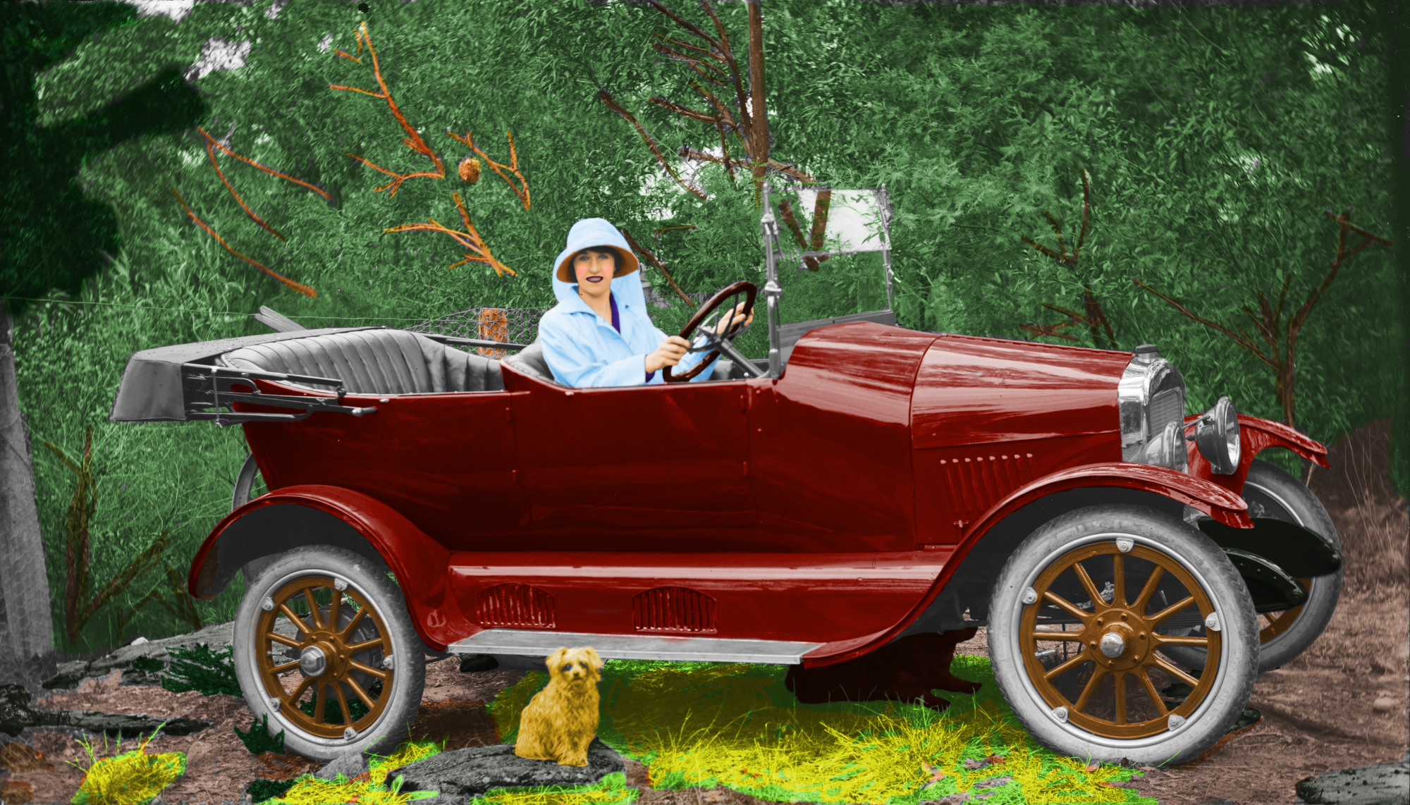 A female driver sits at the wheel of her red Maxwell cabriolet (circa 1920).