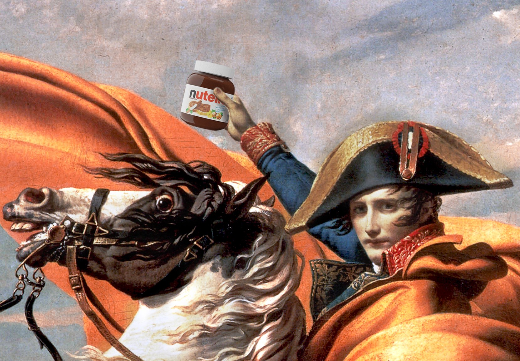 Napoleon Bonaparte on his horse holding a jar of Nutella