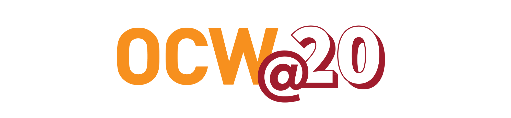 """Gold and red logo reading """"OCW @ 20"""""""