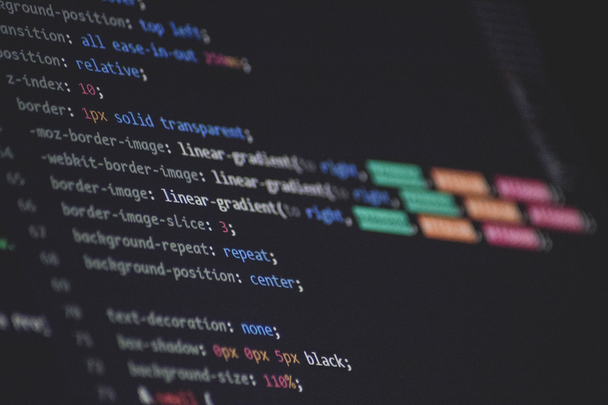 CSS code on a computer screen