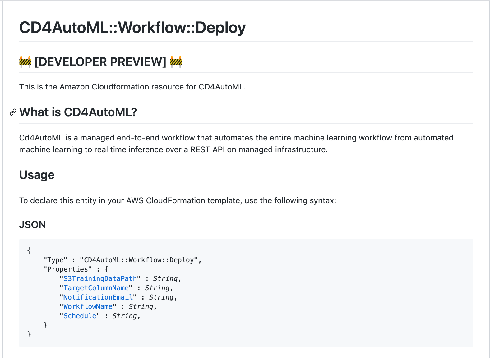 CD4AutoML Cloudfromation Registry and CLI—Developer Preview