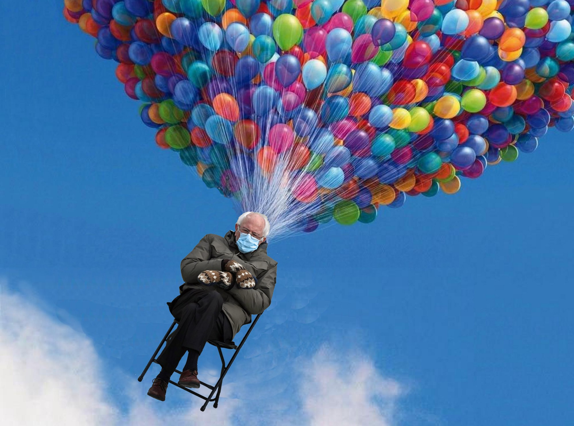 "Bernie Sanders sits in his mittens and face mask meme image, being carried away by millions of balloons from the movie ""Up""."
