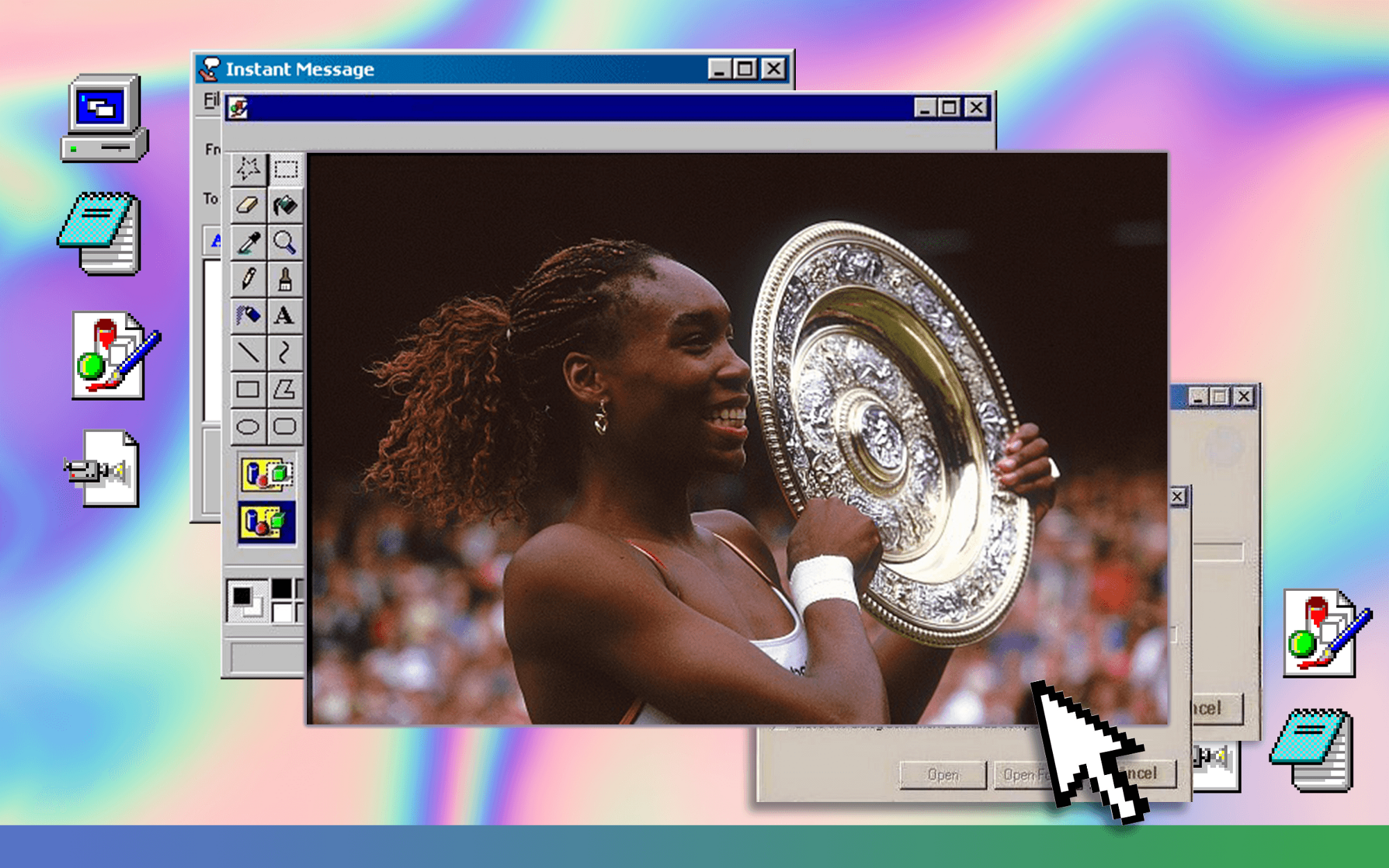 Venus Williams holding her Wimbledon trophy in 2000 on a Windows 95 desktop with a rainbow gradient background.