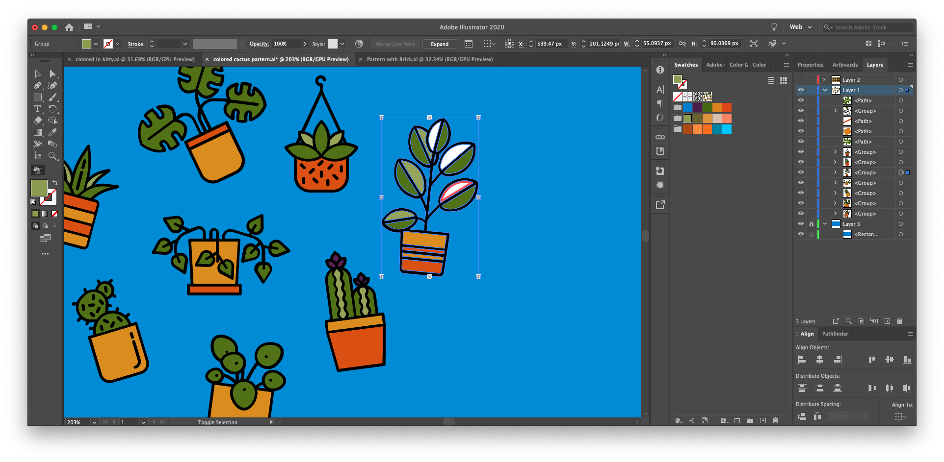 """Use Live Paint to adjust multiple colors within your icon before you select """"make pattern."""" Illustrator also lets you search through Adobe Color Themes to find visually pleasing color palettes you can use to make a pattern that packs a punch."""