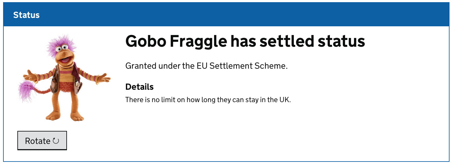 screenshot with a picture of Gobo Fraggle stating he has settled status