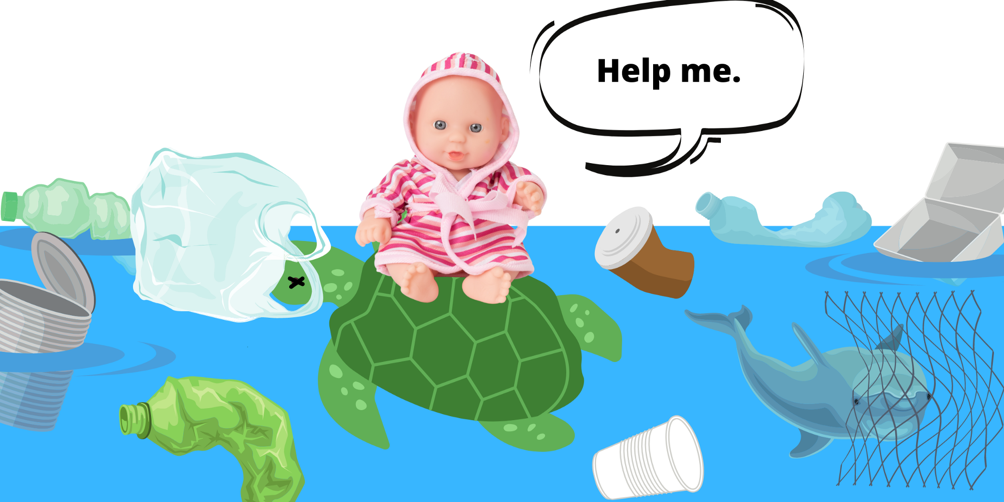 small doll sits on dead turtle in a polluted ocean