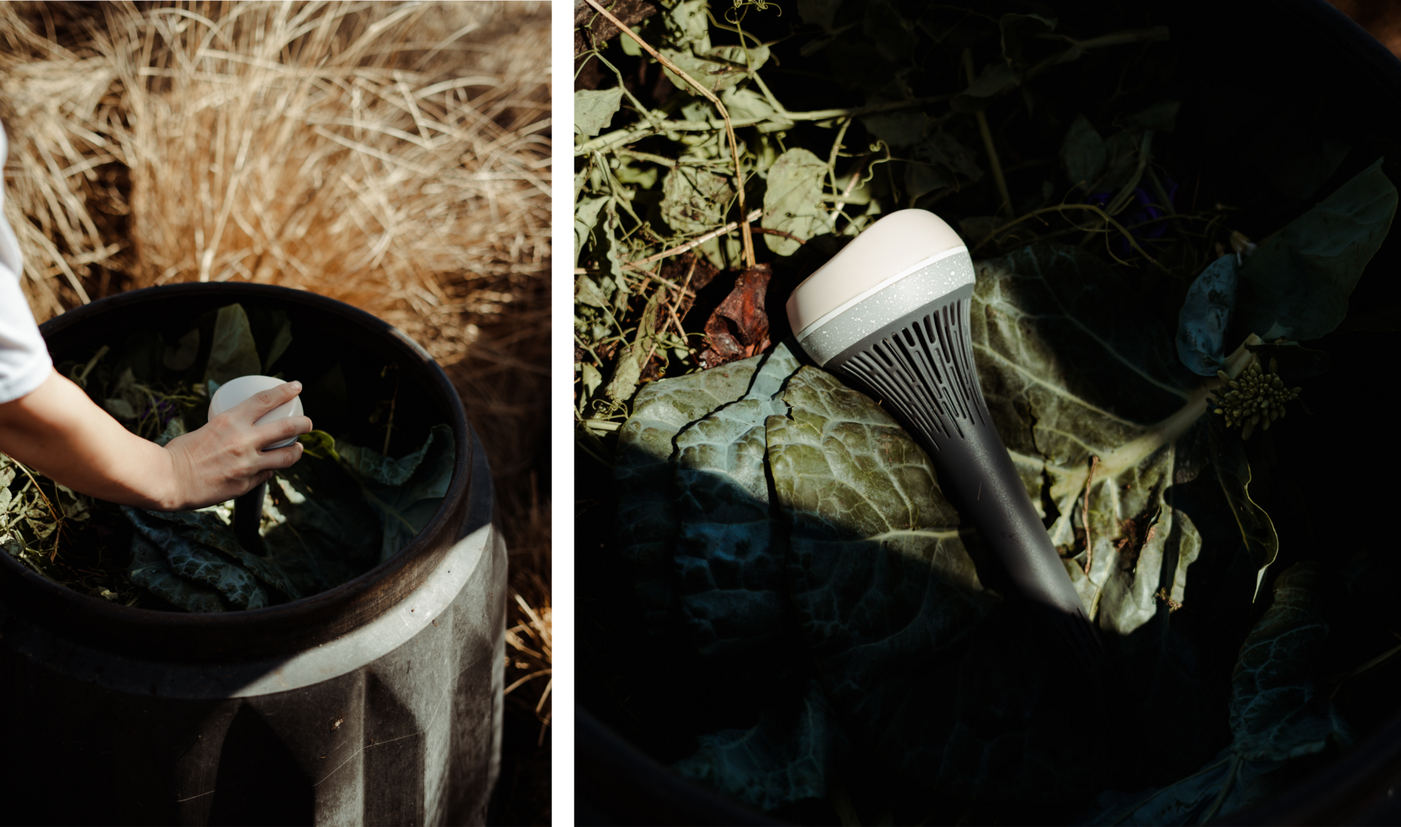 Left image: A hand inserting the monitor into a drum of compost. Right image: The Monty monitor resting on some decomposing vegies.