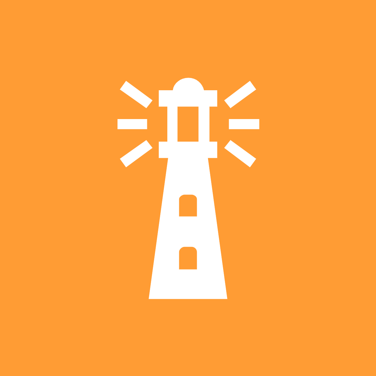 A white lighthouse against an orange background.