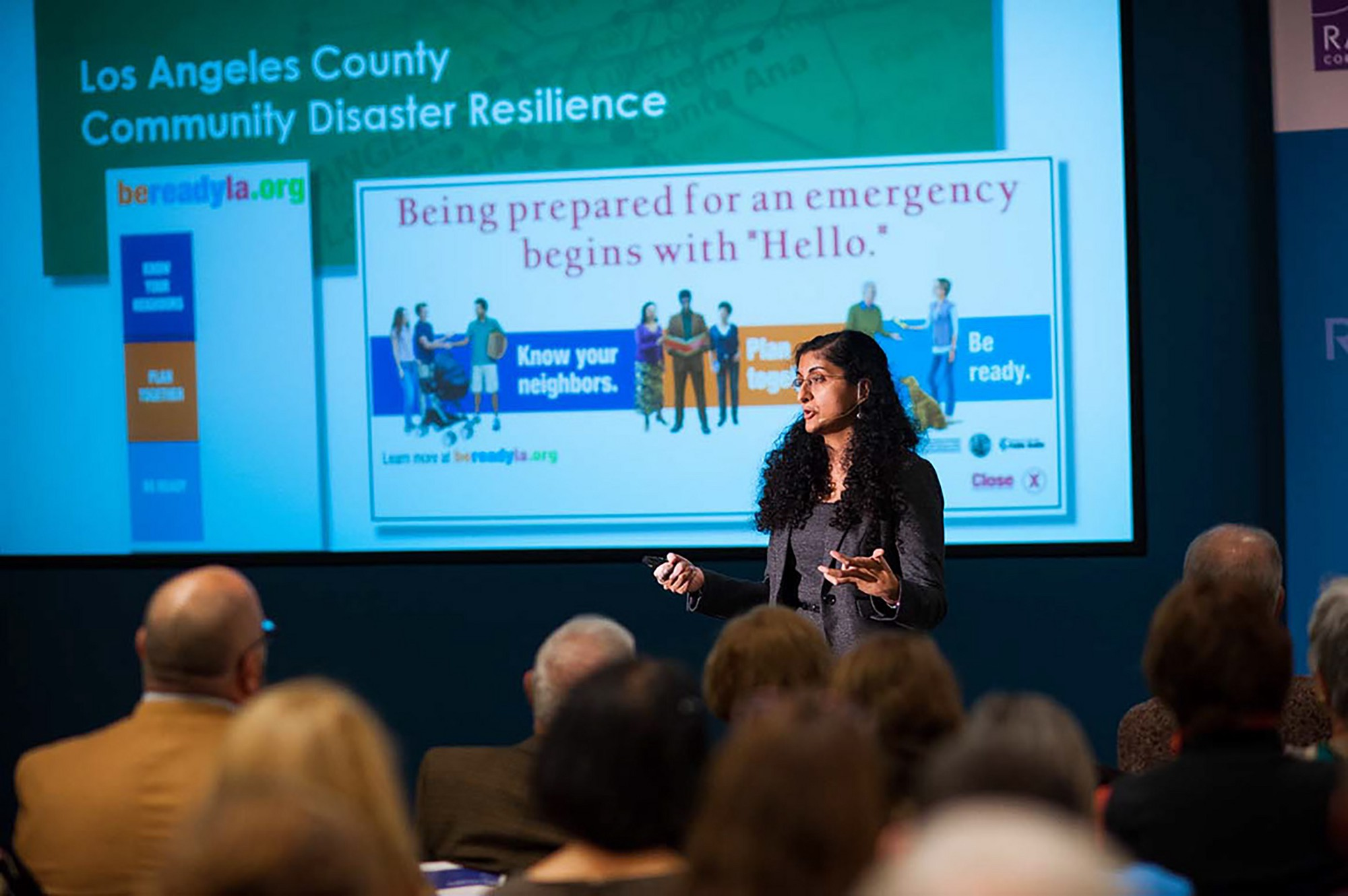 Anita Chandra speaking at a community resilience event at RAND's Santa Monica headquarters. Photo by Diane Baldwin/RAND Corporation