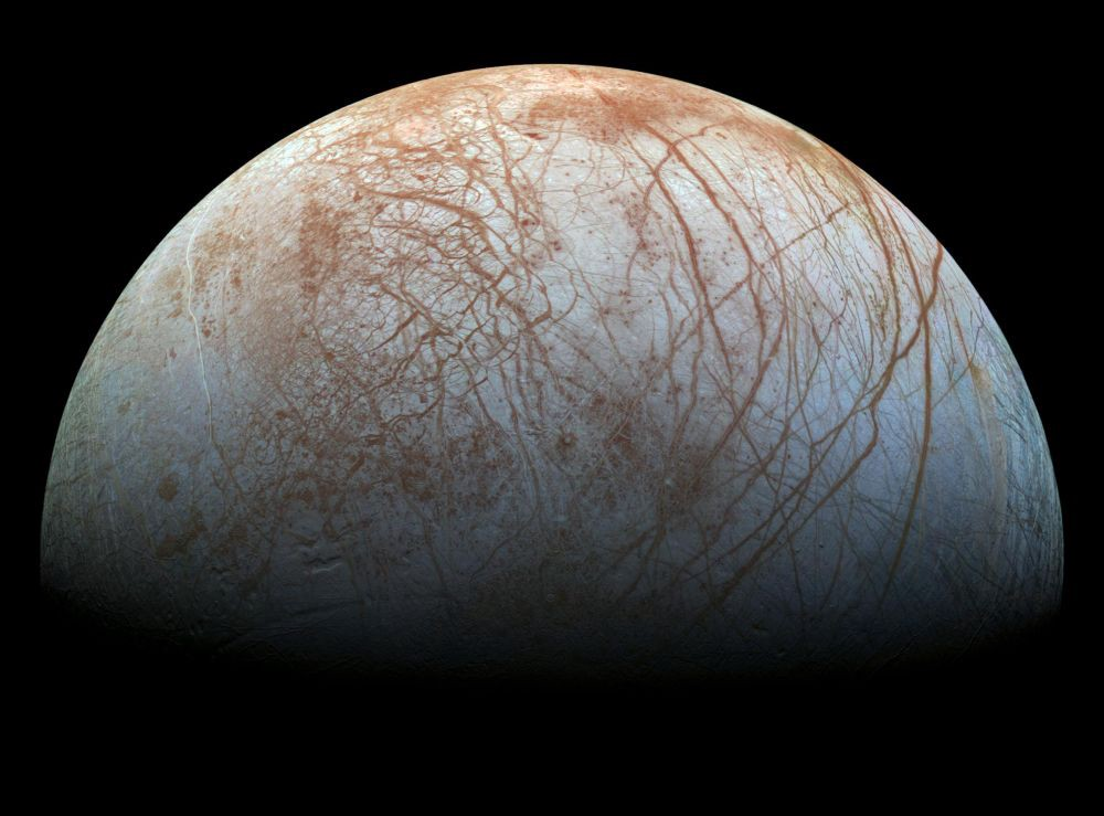Water worlds like Europa, pictured here, could be likely places to find life.