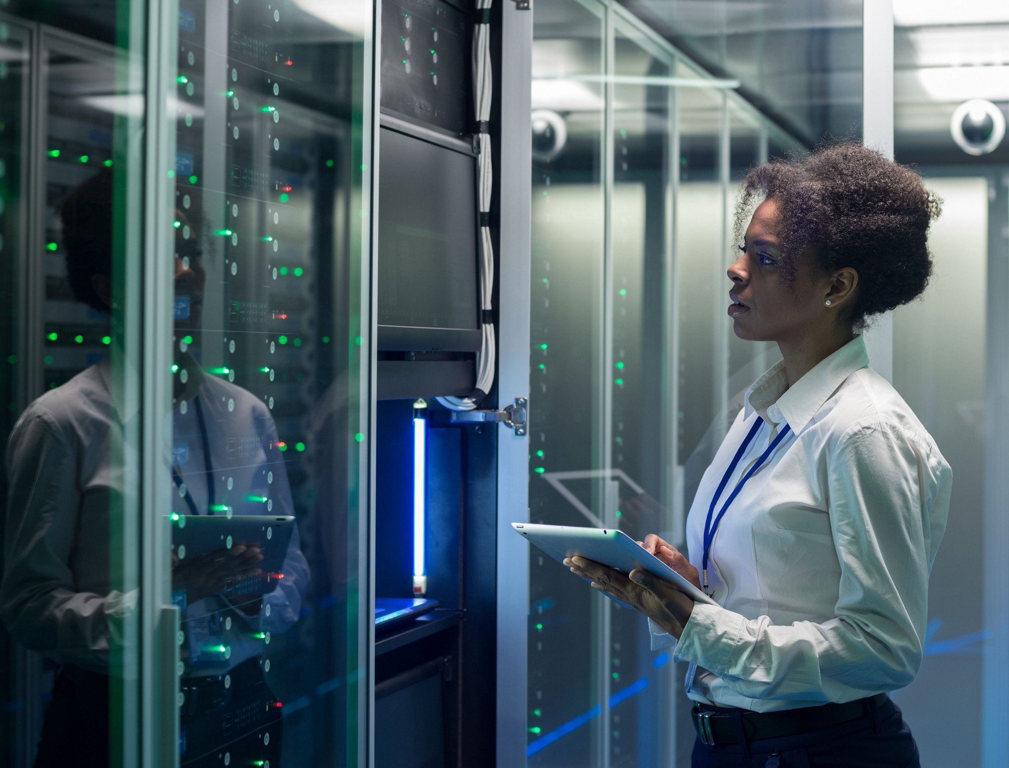 Woman working in a data center