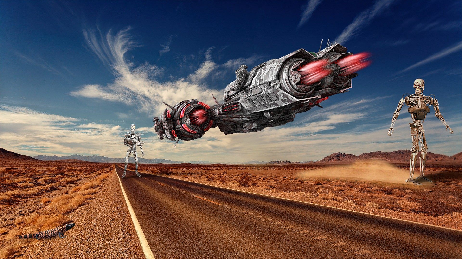 image of an alien ship hovering over a prairie road with two large robots walking nearby