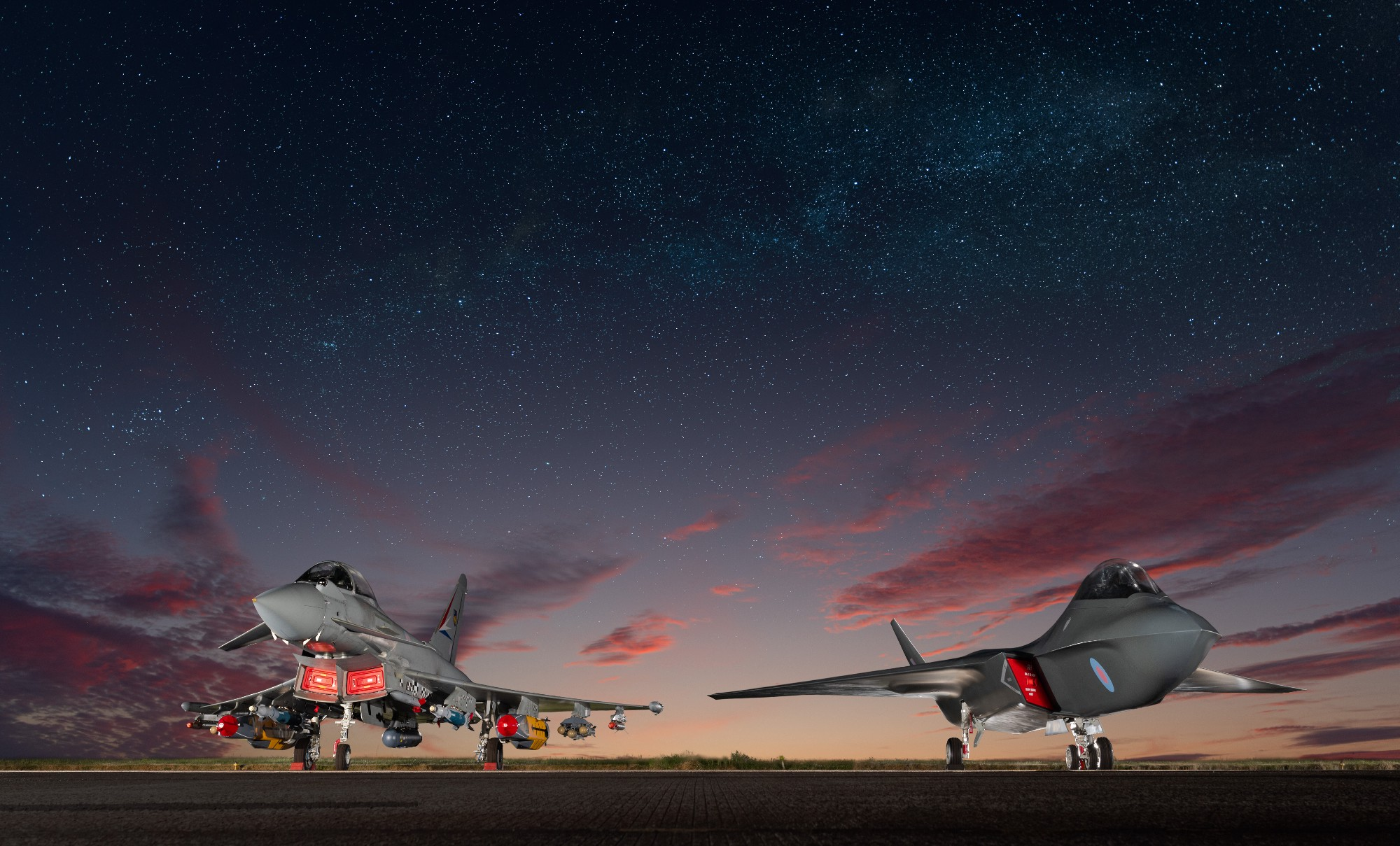 A Typhoon jet on the left next to a model Tempest jet on the right