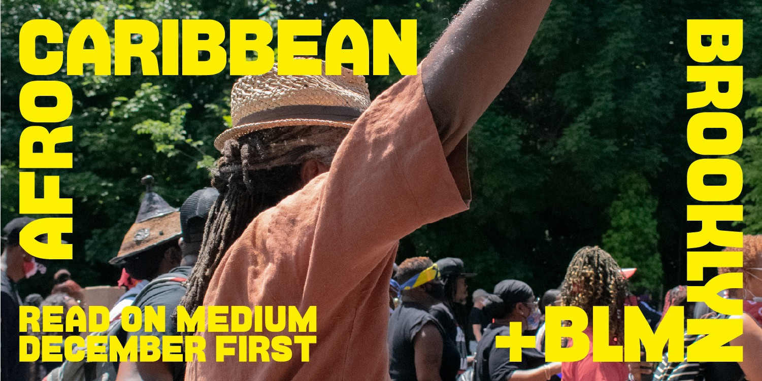 Caribbean man in BLM, Black Lives Matter march, in Brooklyn New York City