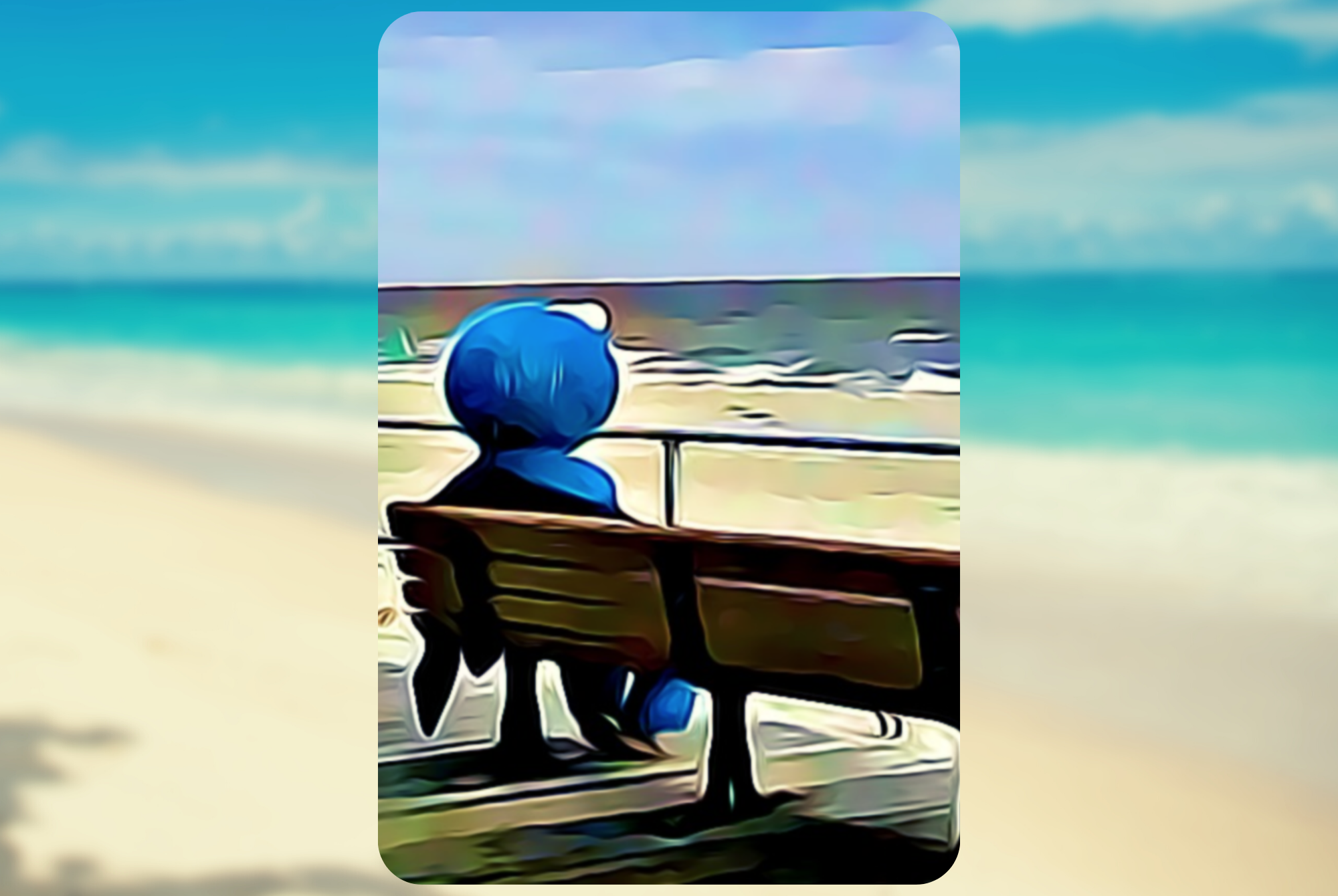 A cookie monster sitting on a beach bench looking off into the distance.