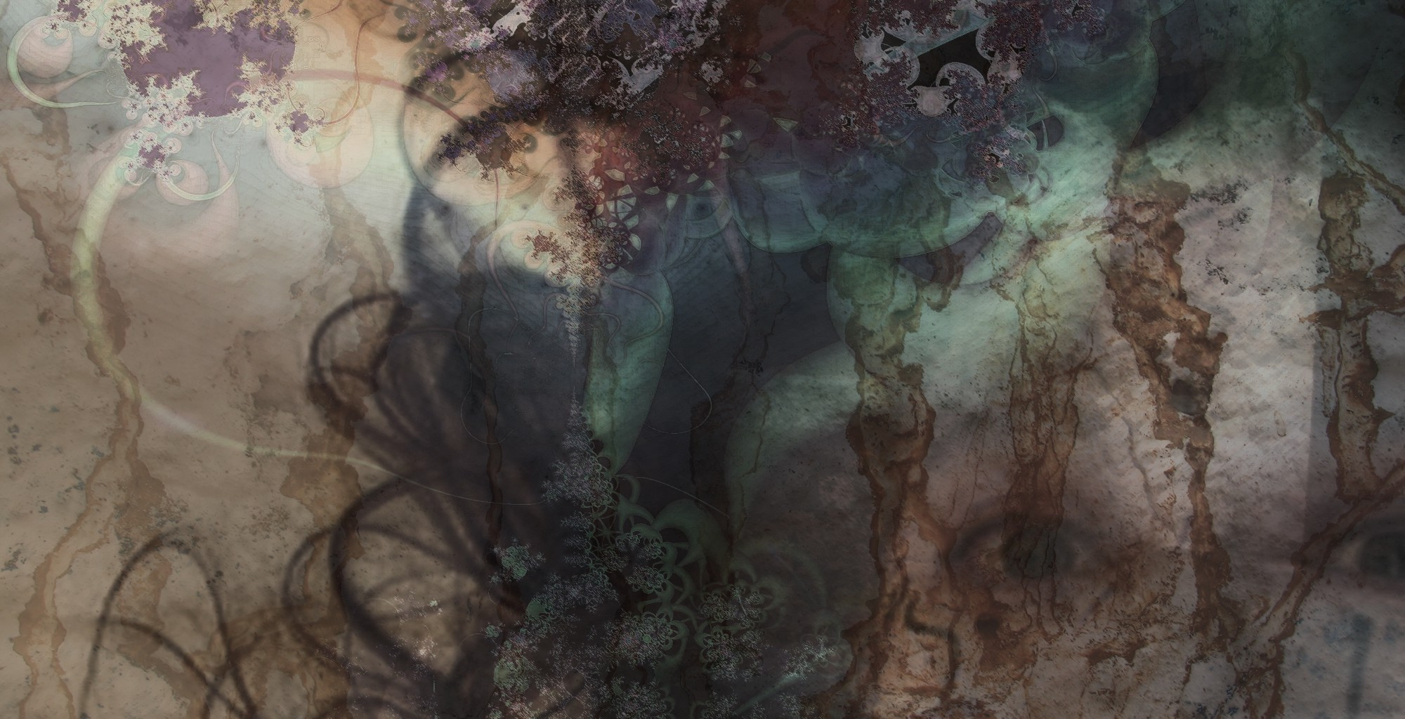 Composite image of a woman's frightened eyes, rusting texture and cosmic fractals in muted and dark tones.