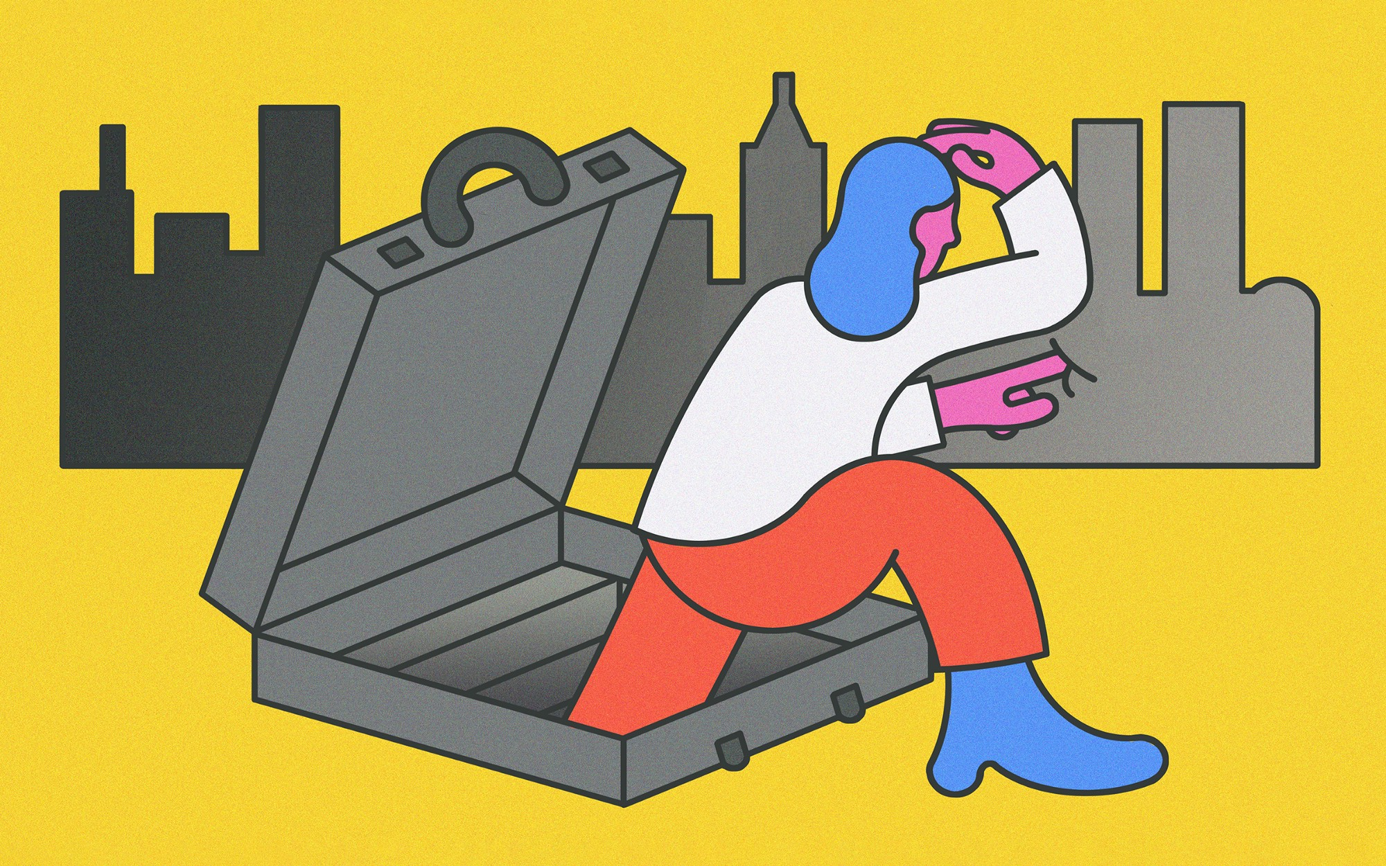 An illustration of a woman character stepping outside of a briefcase, in search of a new opportunity.