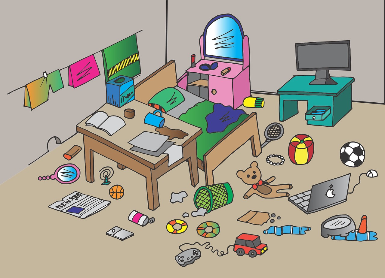 Messy room with kids' stuff everywhere showing how parenting is hard