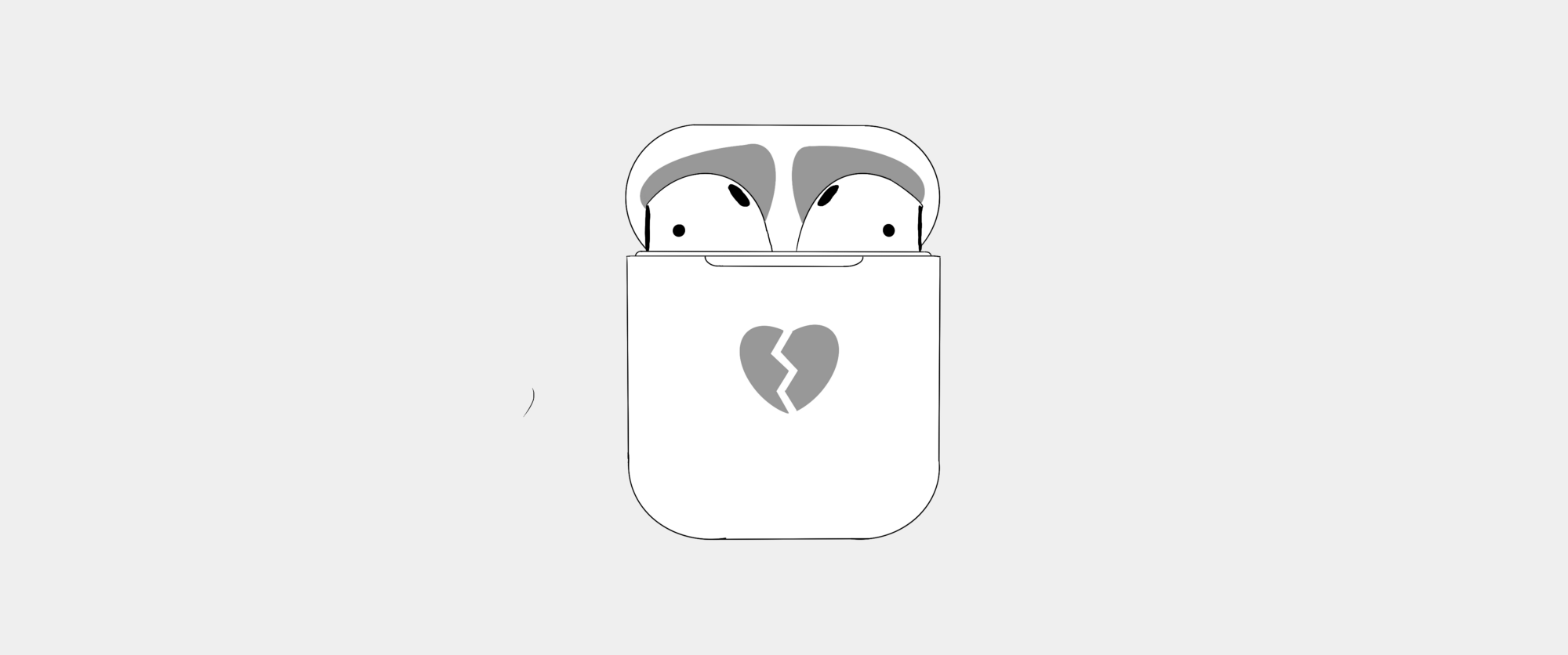 Illustration of AiPods in case with a broken heart emoji