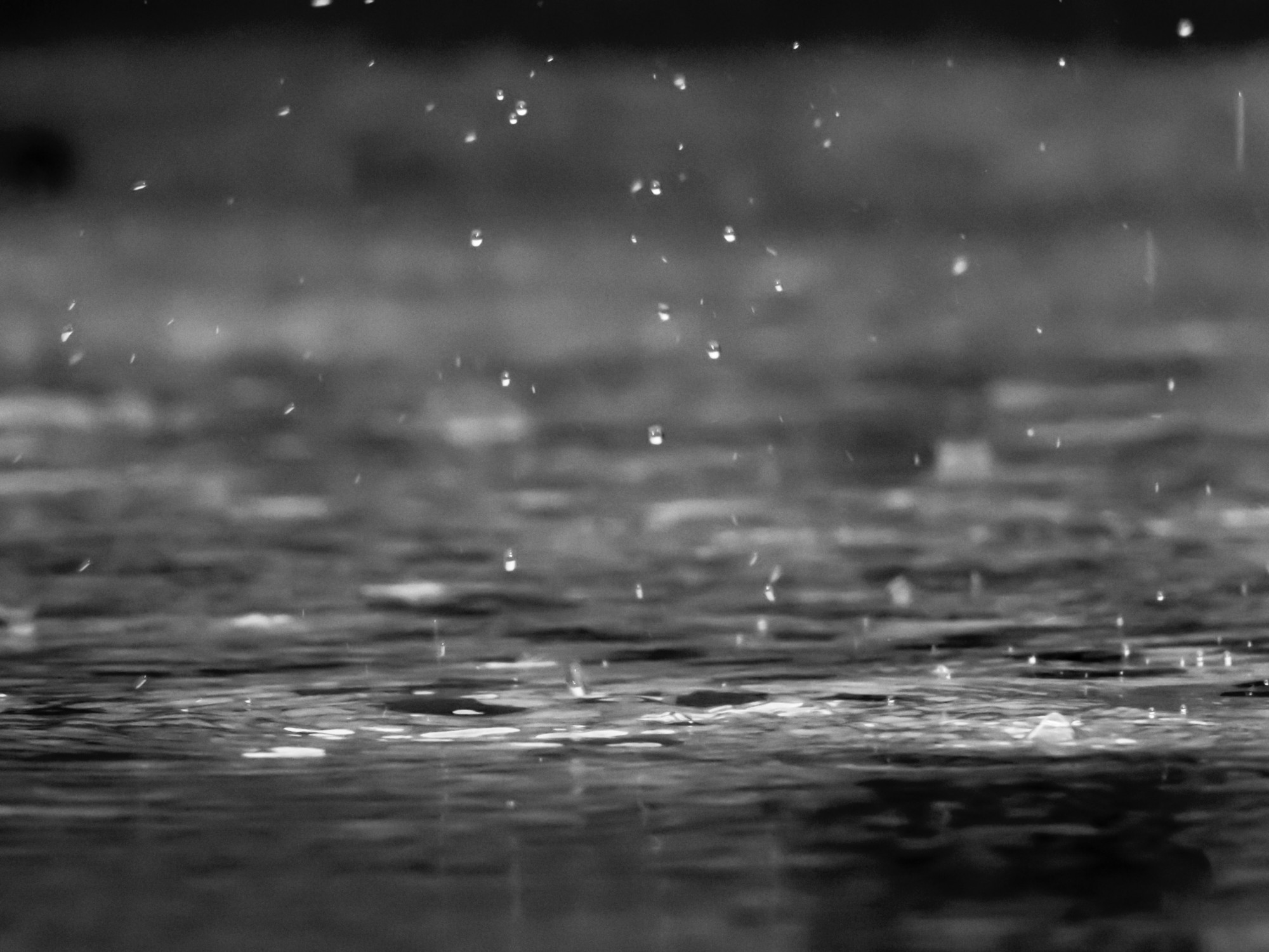 Black and white close-up photo of rain bouncing into puddle.