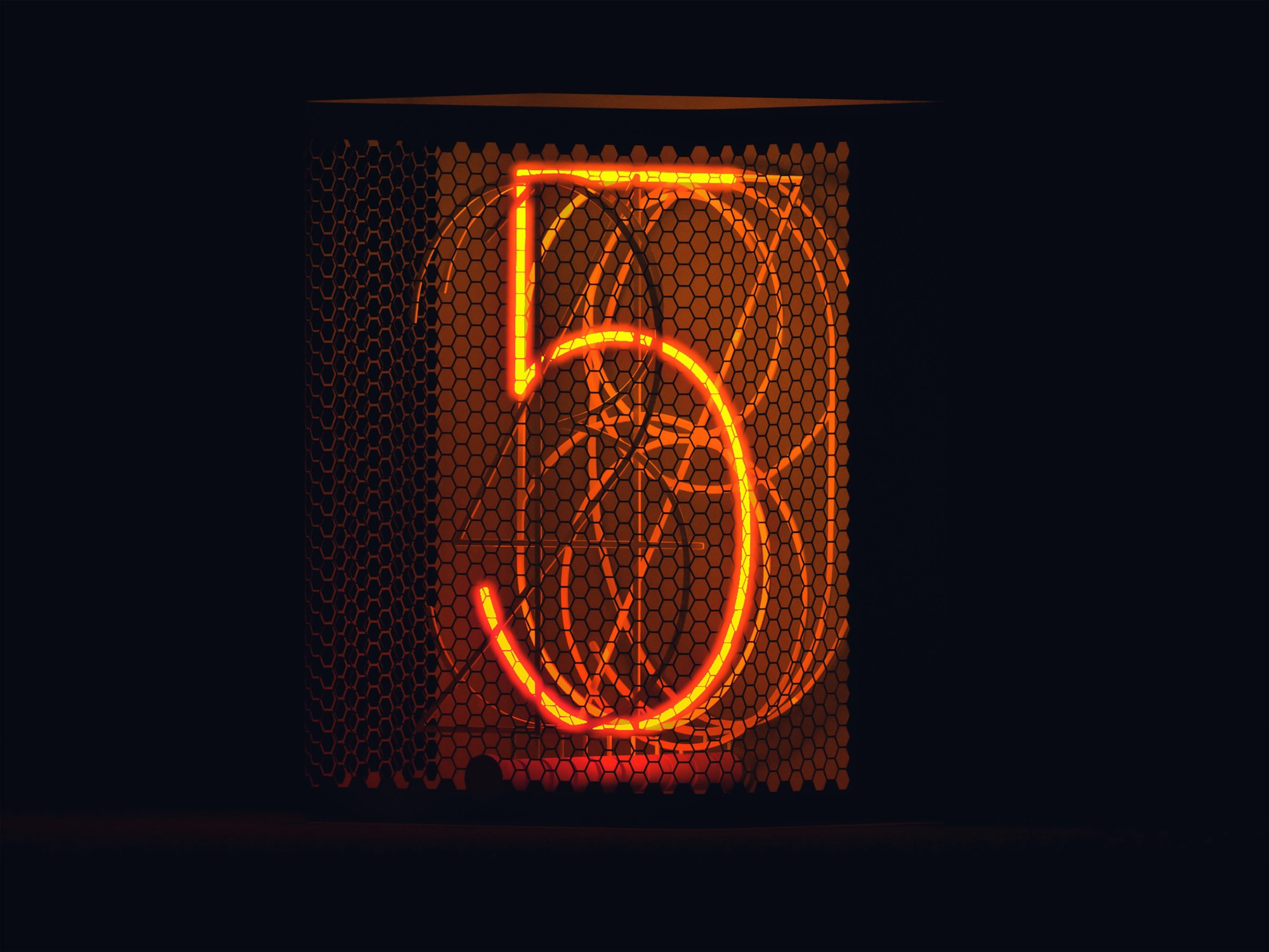 neon orange numbers, overlapping, on black background, with the number 5 the brightest