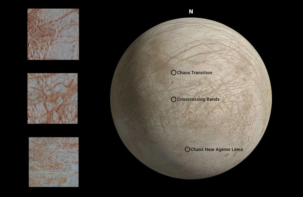 Detail seen in three regions of Europa show exquisite detail in lines across the surface.