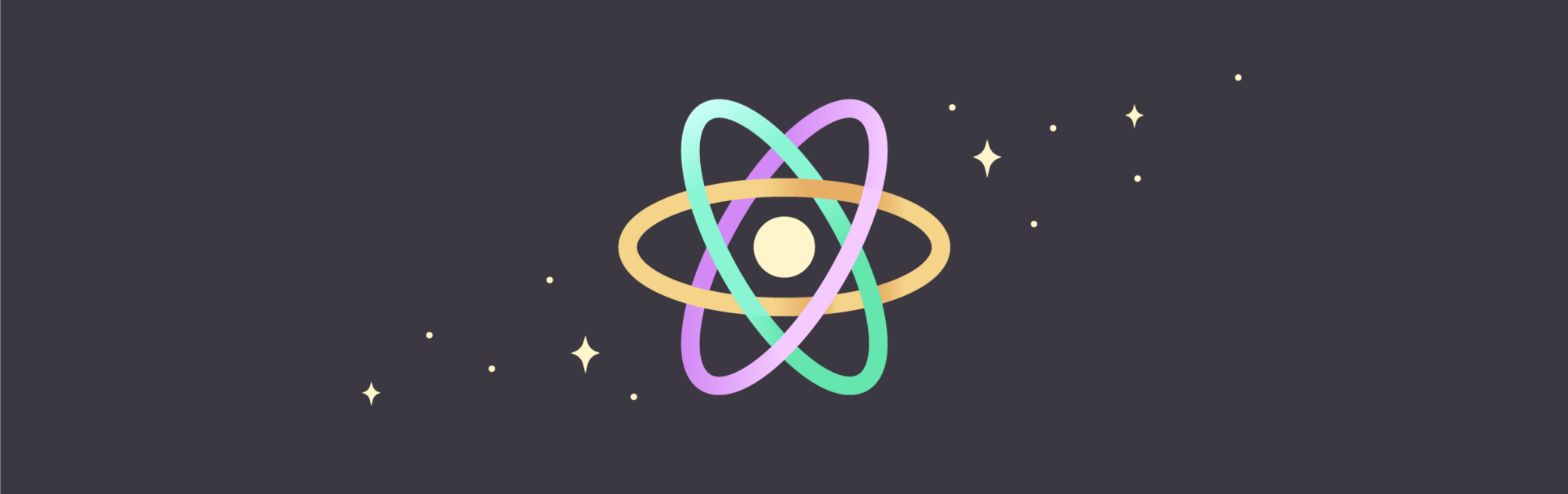 An illustration showing the React Native logo.