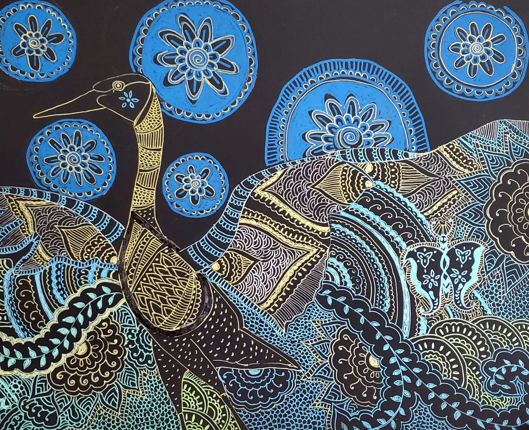 Illustration of a large bird spreading its wings. Light blue, yellow, and brown lines (with the dark blue background showing through) form ornate patterns on its feathers. Behind it float blue circles of various sizes that look like doilies.