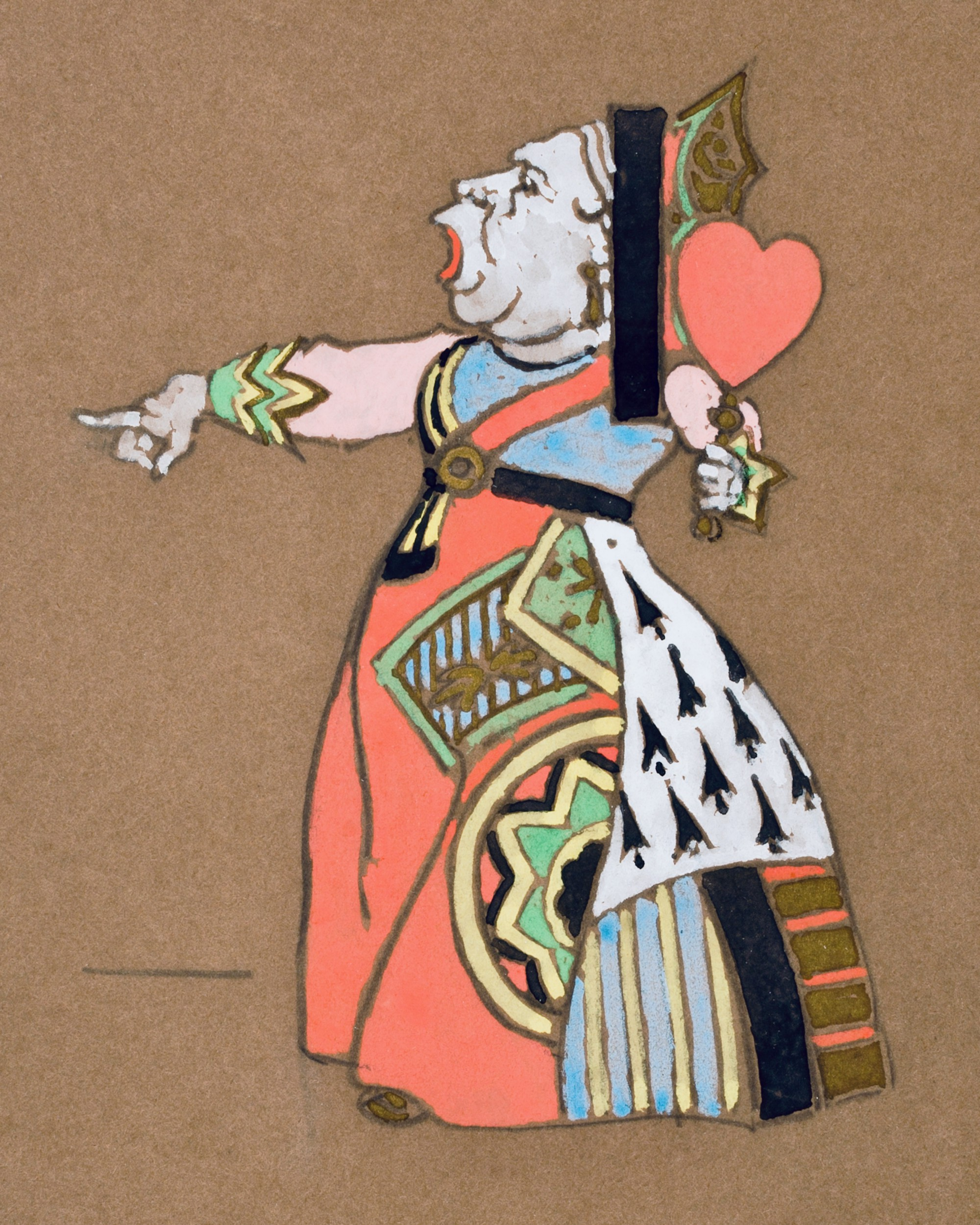Vintage artwork of the Queen of Hearts, the epitome of blind (and perimenopausal) fury, from Alice's Adventures in Wonderland.