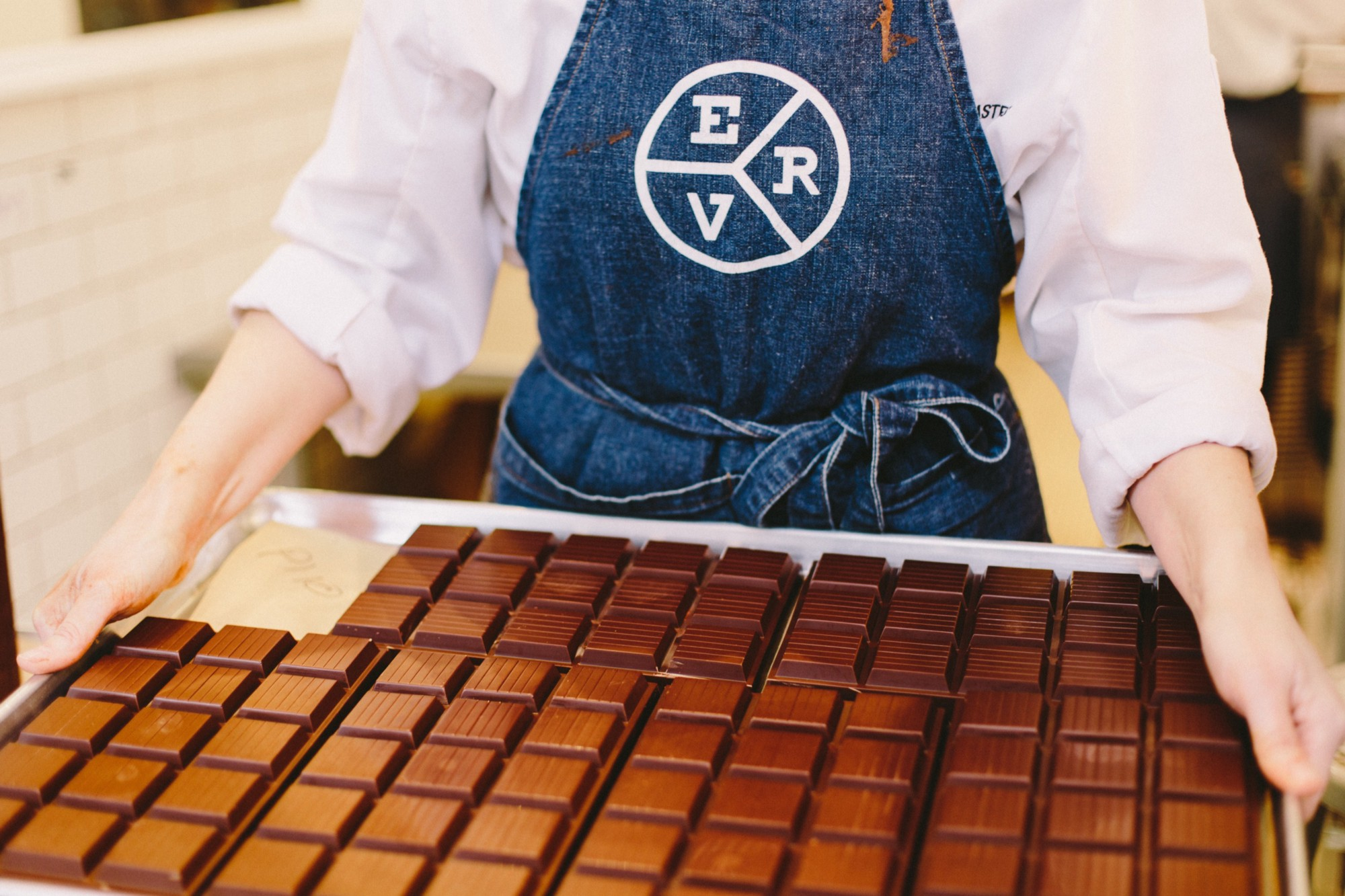 A tray of chocolate bars from East Van Roasters