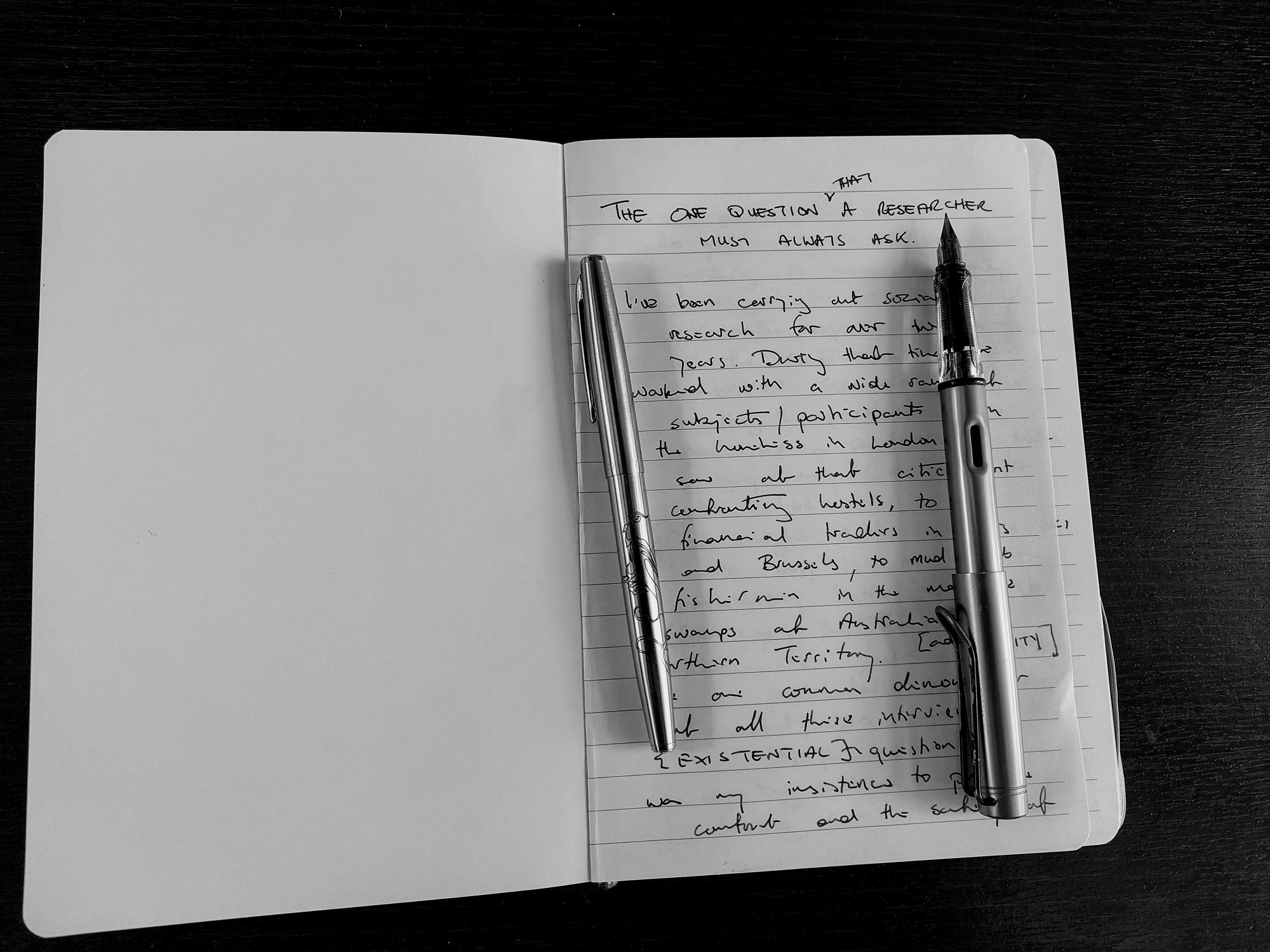 Journal and fountain pens