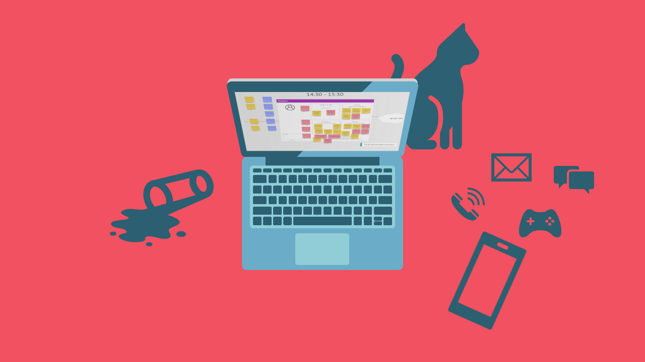 Laptop computer, a cat, spilled drink, mobile and icons of distractions