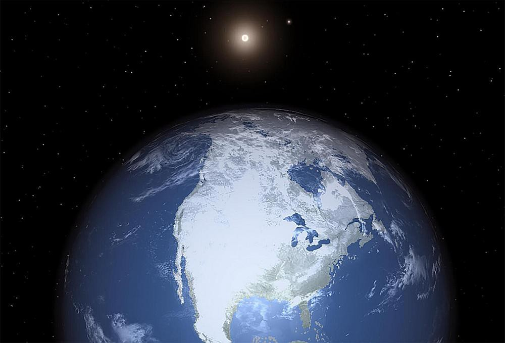 An artist's rendition of the Earth with a pair of stars in the background.