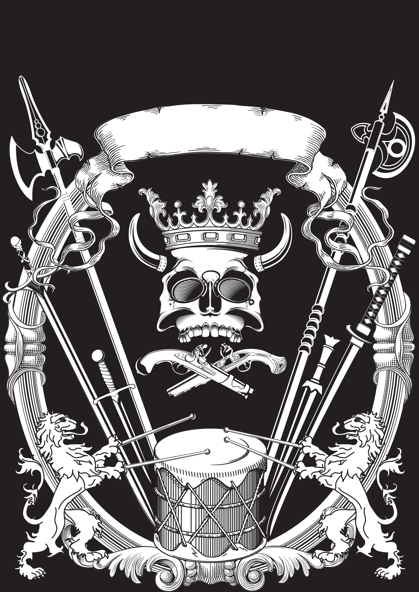 Heraldic crest with two lions drumming under skull