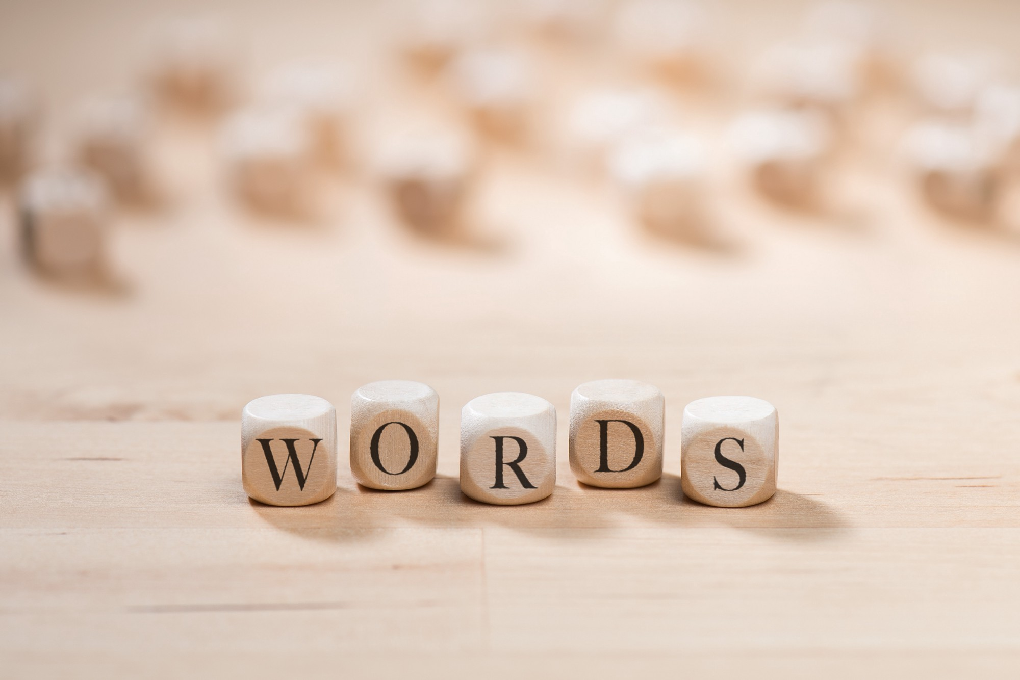 "The word ""words"" on wooden cubes"