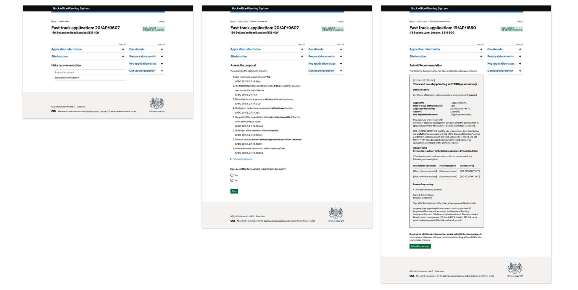 3 web page screenshots showing that the same page template is being used.