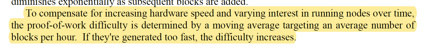 To compensate for increasing hardware speed and varying interest in running nodes over time,  the proof-of-work difficulty is determined by a moving average targeting an average number of blocks per hour. If they're generated too fast, the difficulty increases.