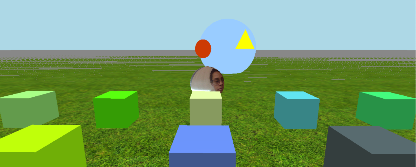Virtual field with a grass floor and 4 cubes. a face s in the middle of the field.