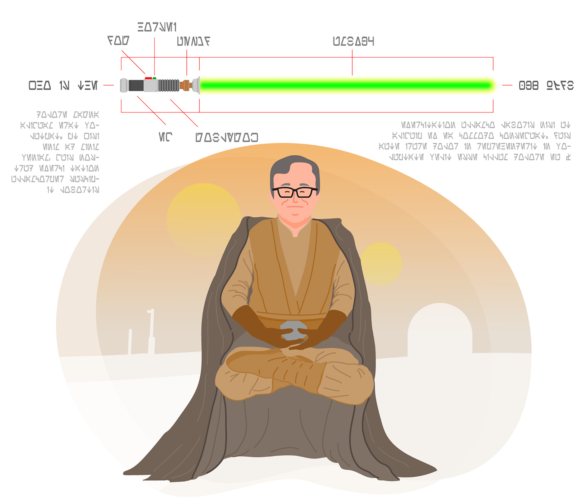 An illustration of Gordon Baty (our UX Director) dressed as a Jedi. Art by Steve Hall.