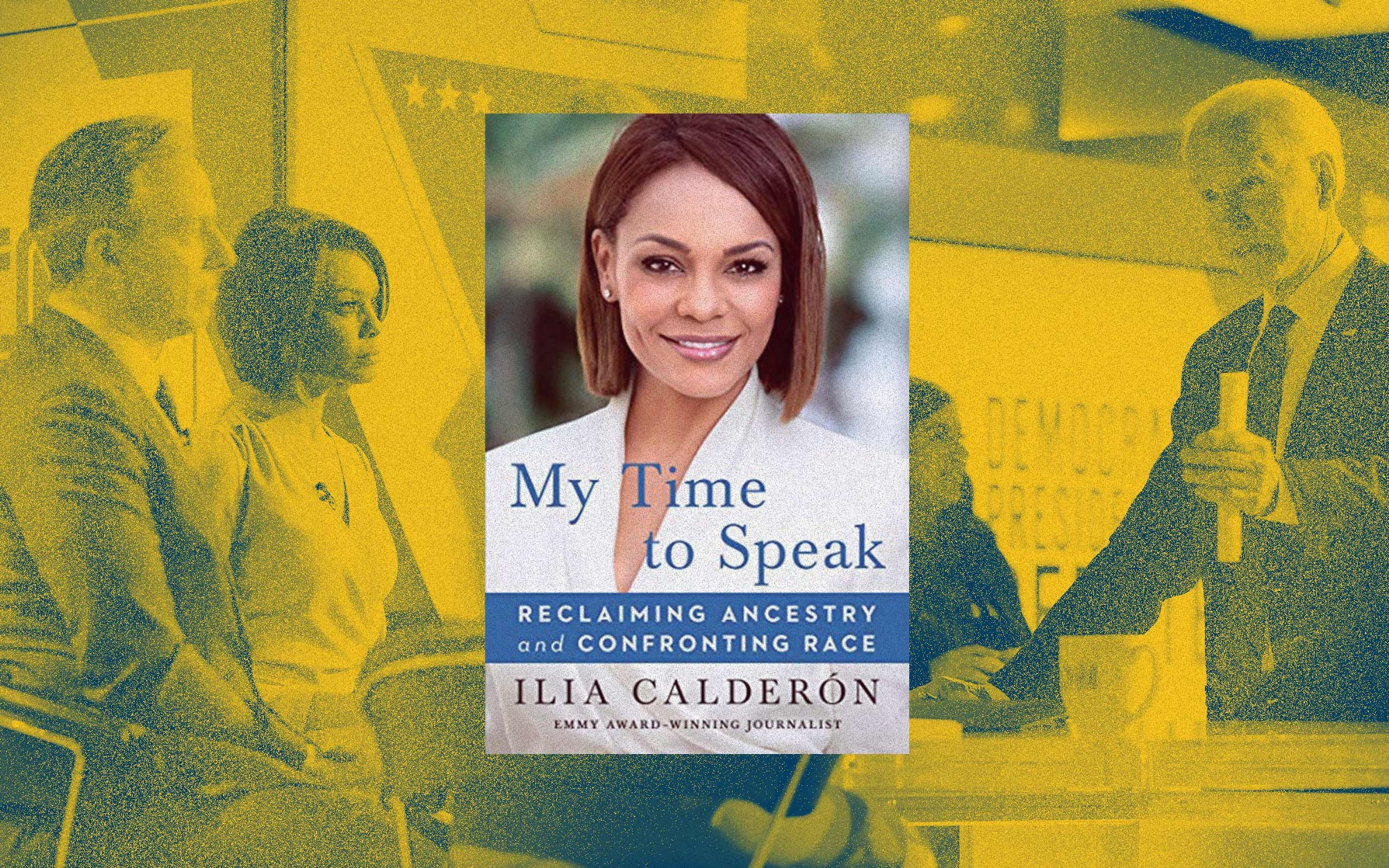 """Book cover of Ilia's book, """"My Time to Speak,"""" against a yellow filter background photo of Ilia in the CNN newsroom."""