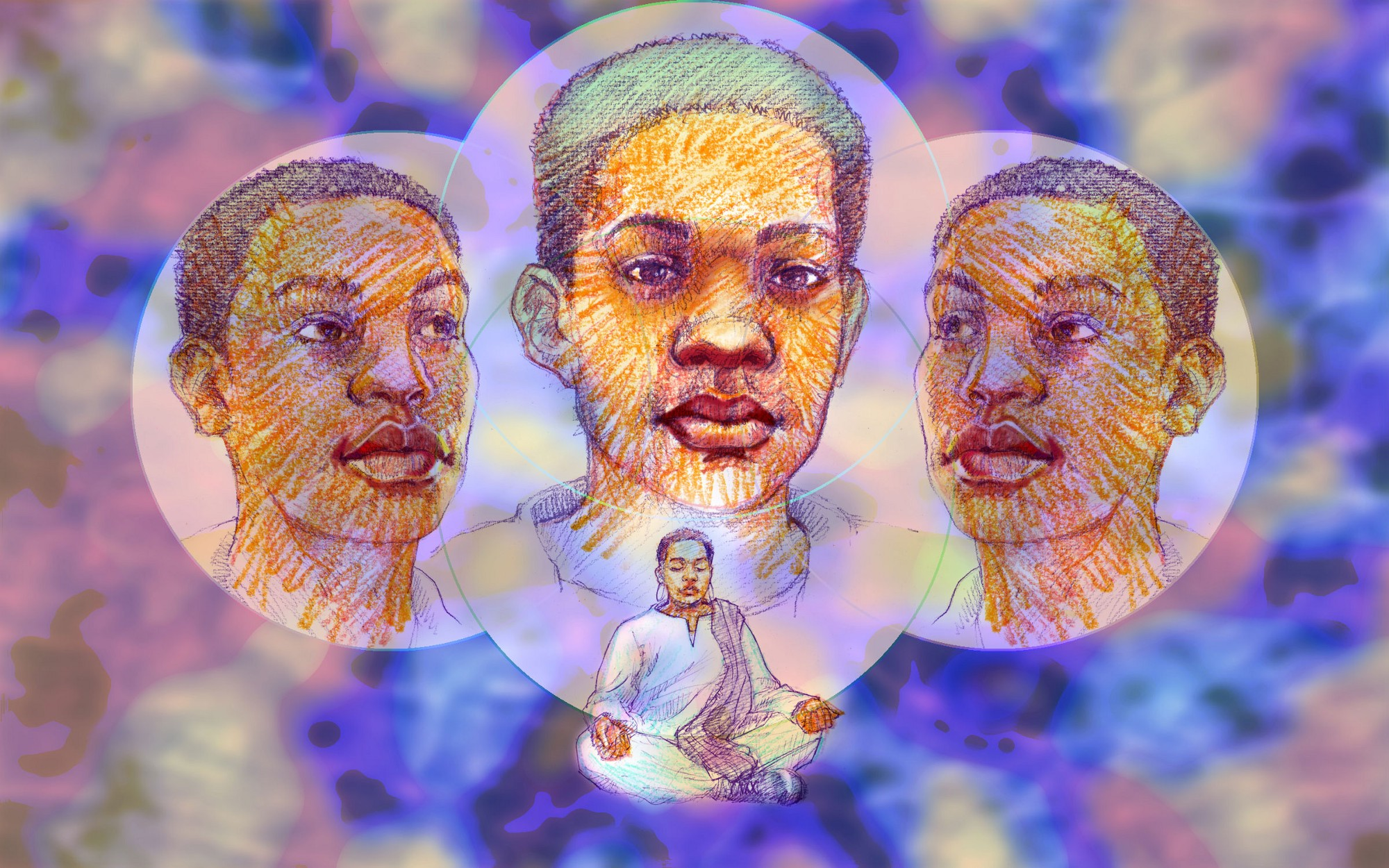 An illustration of a gender non-conforming person meditating. There are three pop-up images of their face above.